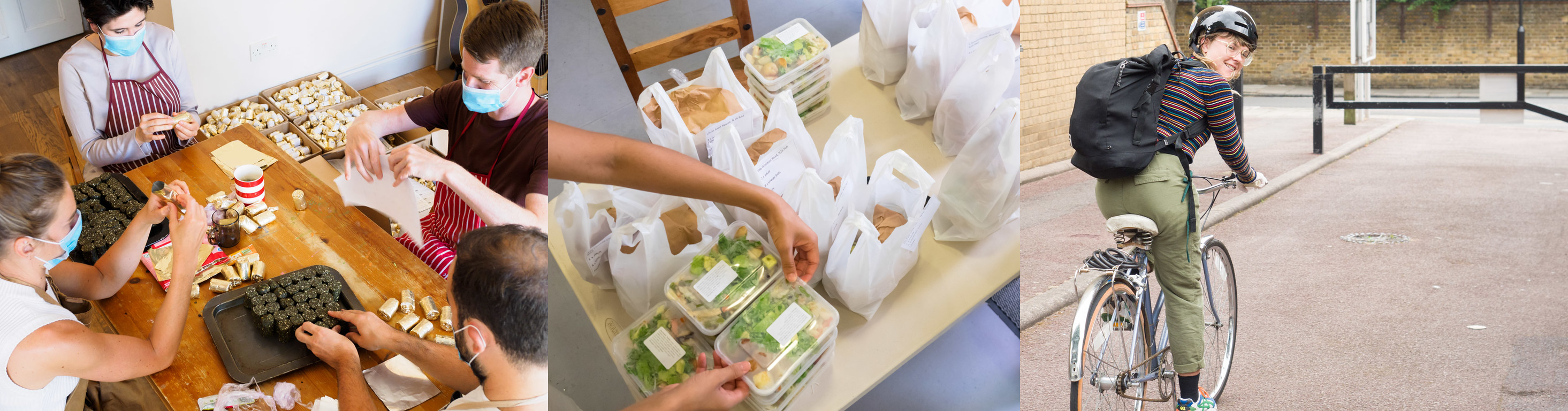 Go bites! prep, warm meals in containers ready for delivery, bicycle courier
