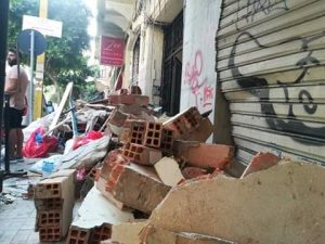 Sidewalk rubble after Beirut blast